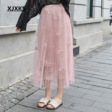 Women Skirt Faldas Elastic-Waist Elegant Autumn Fashion Summer Beach XJXKS Casual Netting