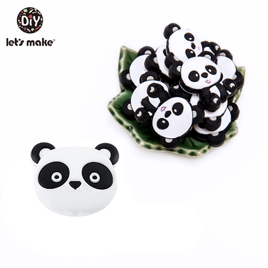 Let's Make DIY Silicone Panda Beads 10PC Silicone Tiny Rod Teether Pacifier Clip Chain Accessories Bead Silicone Baby Teether