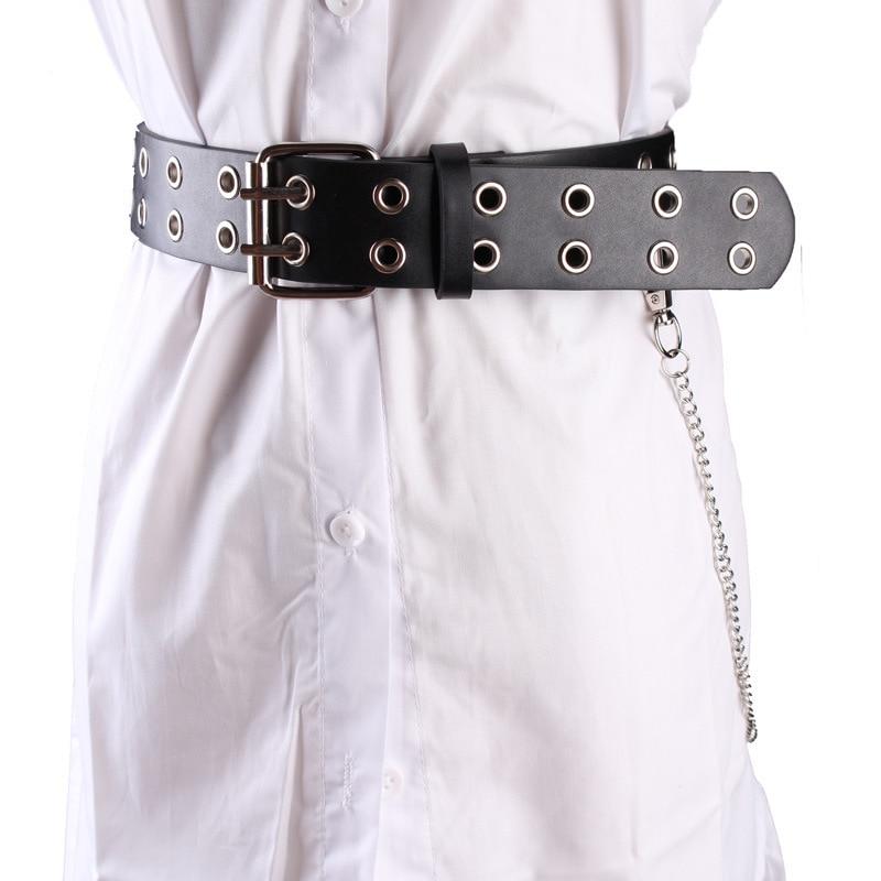 Ladies Belt Chain Punk Style Hollow Double Row Hole Double Pin Buckle Eye Decoration Concave Shape Rivet Belt Black