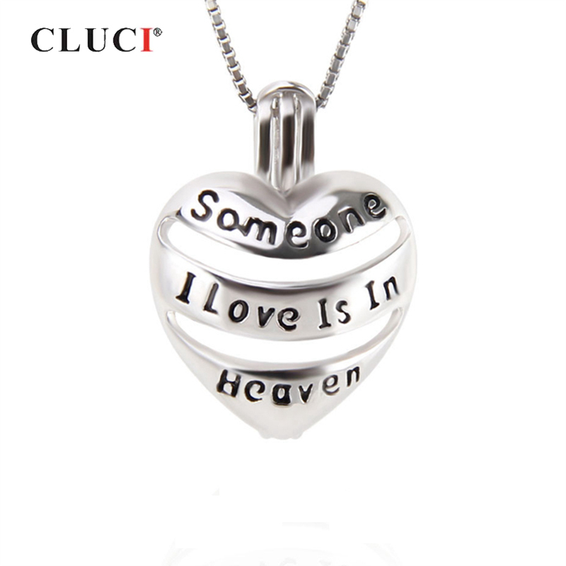 CLUCI 925 Sterling Silver Women Jewelry Heart Shaped Cage Pendant Someone I Love Is in Heaven Letter Charms Pearl Locket SC271SB