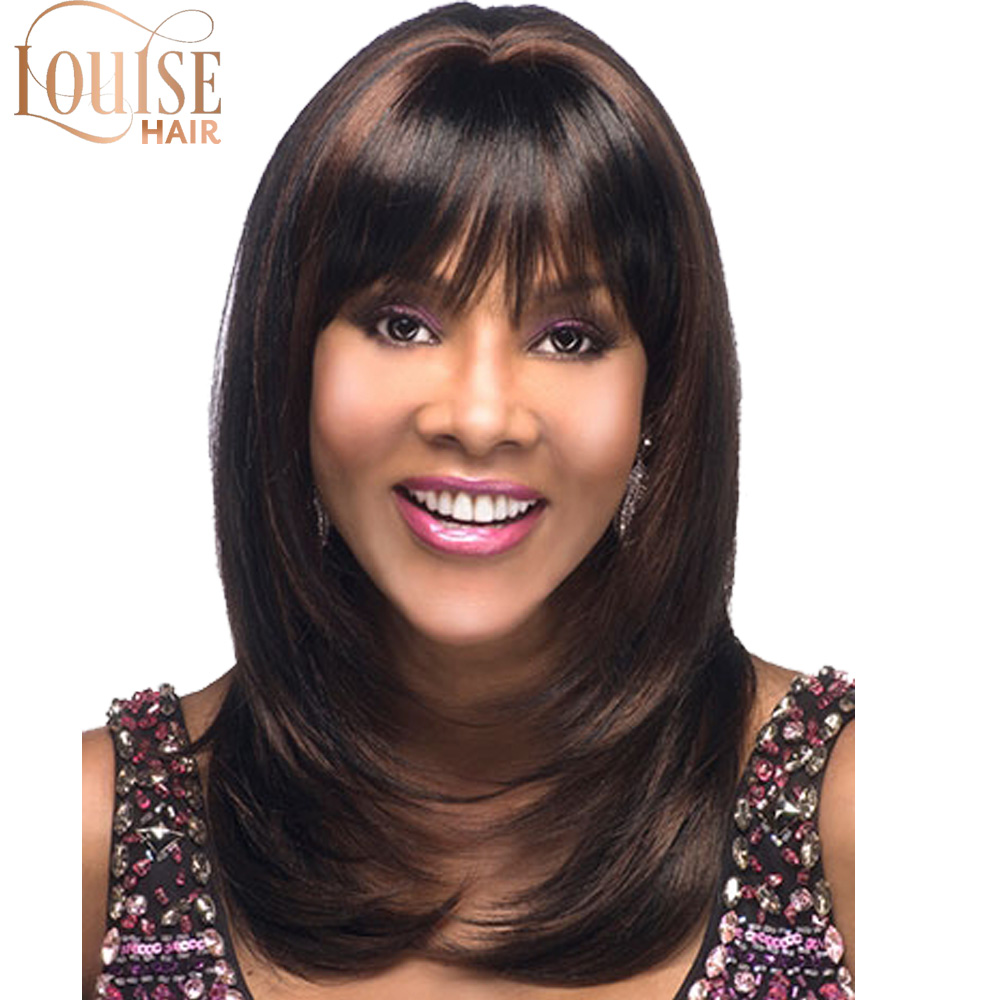 Louise 16 Inches Long Synthetic Natural Wave Brown And Black Hair Wigs Heat Resistant Hair Wigs For Black Women