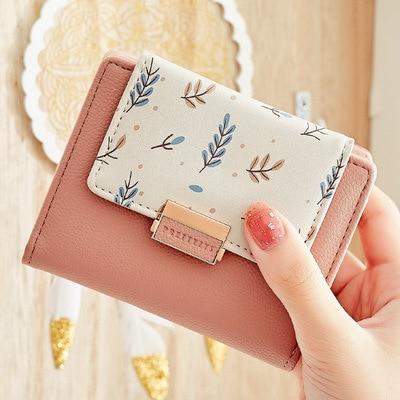 Fashion Fresh Flower Small Wallet Women Soft Leather Ladies Purse Brand Designer Short Female Wallet Girl Cartera Coin Purse