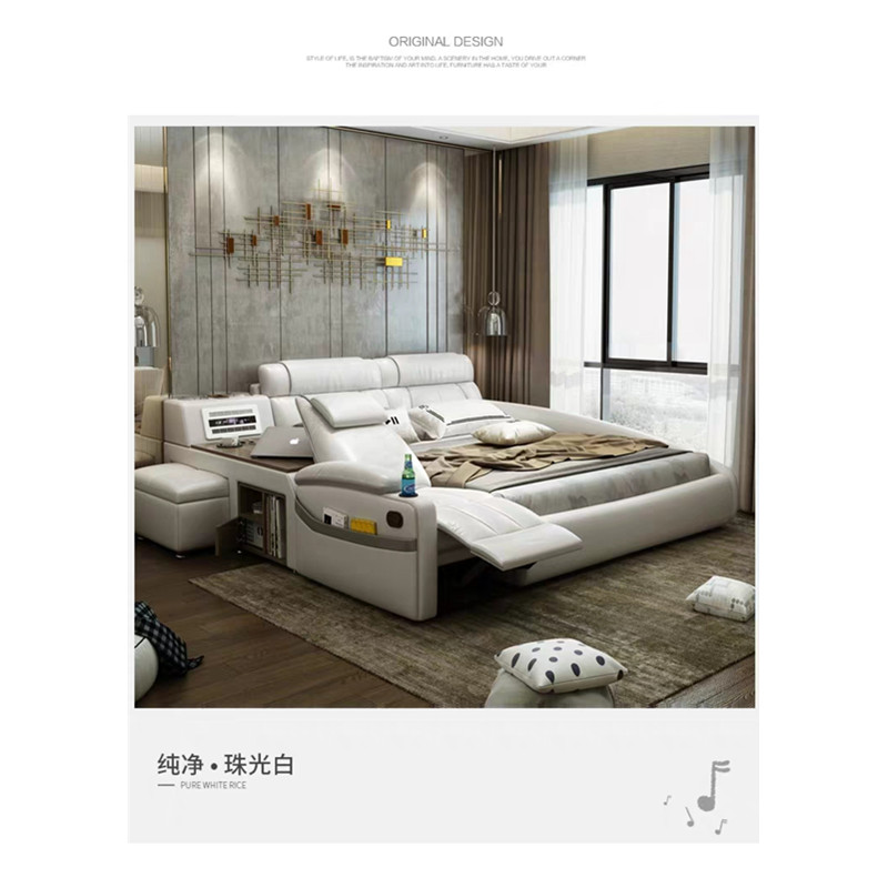modern bedroom furniture master sofa bed set leather beds with air purifier bluetooth usb