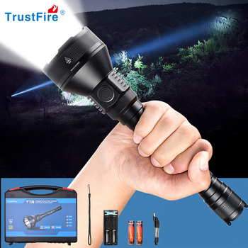 Trustfire T70 Tactical LED Flashlight Hunting Light Cree 2300lm Powerful Camping Lantern 1KM 18650 Torch Light with Dual Switch ekoras c5 v2 0 powerful tactical led flashlight 18650 cree xml u2 1200lm torch light lamp with dual switch power indicator atr
