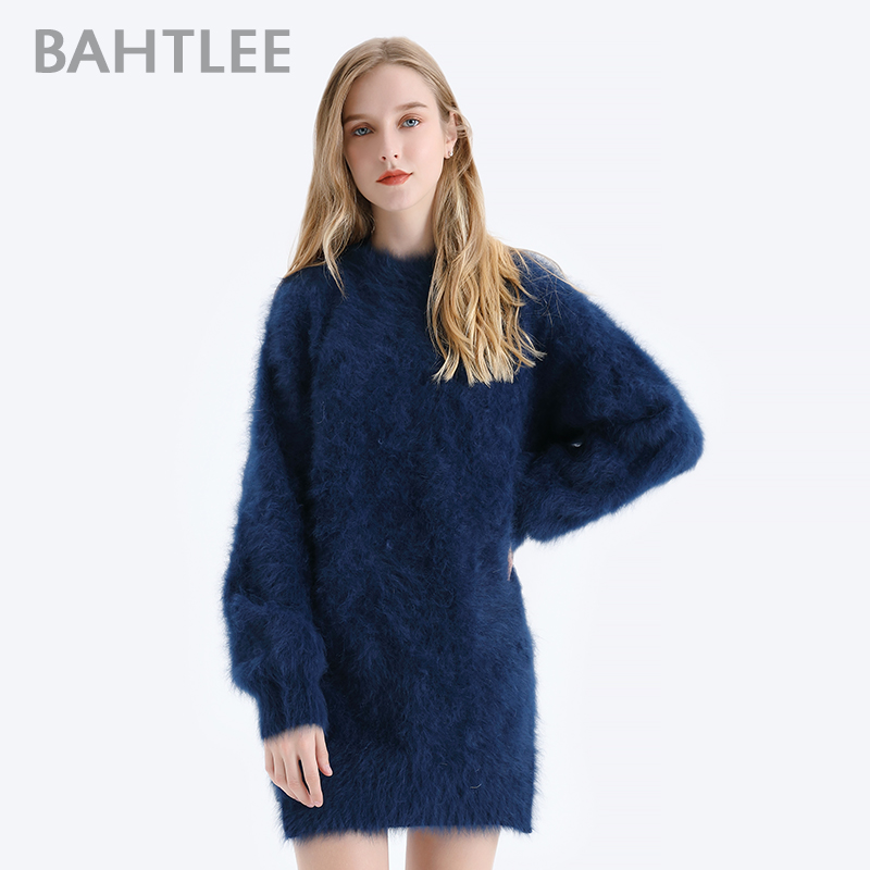 BAHTLEE Women Angora Pullovers Denim Blue Sweater Autumn Winter Wool Knitted Jumper Long Sleeves O-neck  Loose Style