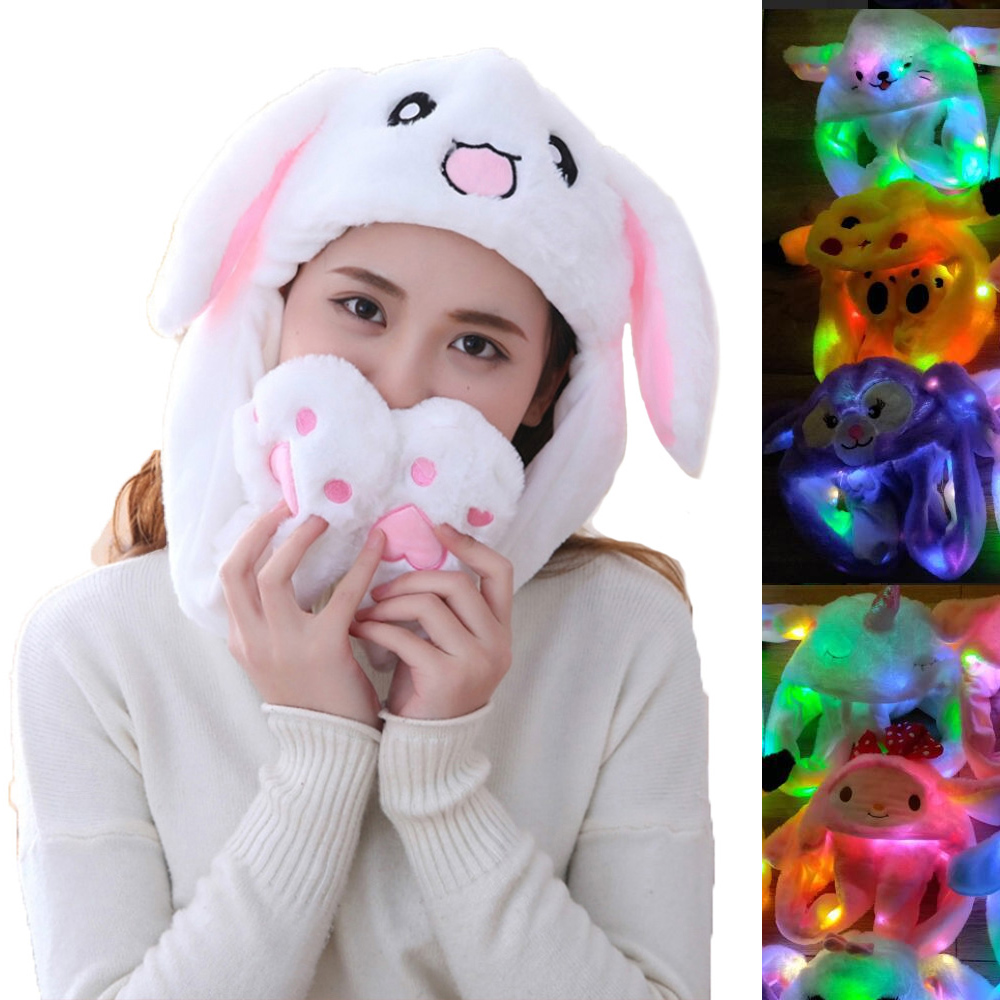 Rabbit Ear Hat Kawaii Funny Hand Pinching Airbag Long Ear Cap Glow In The Night Cartoon Plush Moving Toy Hat Gifts For Girls