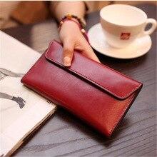 Genuine Leather Women Wallet Long Magnetic Buckle Female