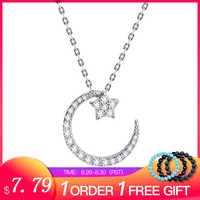 SA SILVERAGE 925 Sterling Silber Mond Sterne Anhänger Halsketten Für Frauen Halsketten Edlen Schmuck Silber Kette Halskette