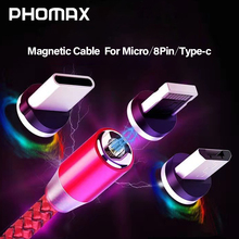 PHOMAX  LED Magnetic USB 3 in 1 Cable for iPhone X Xs 6 & Type C Micro Nylon Braided Samsung S9 Xiaomi
