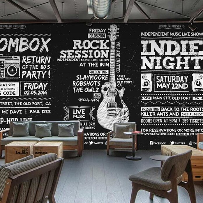 Retro Blackboard Cool Poster Background Wallpaper Bar Music Theme Wallpaper Hiphop Instrument Electric Guitar Mural