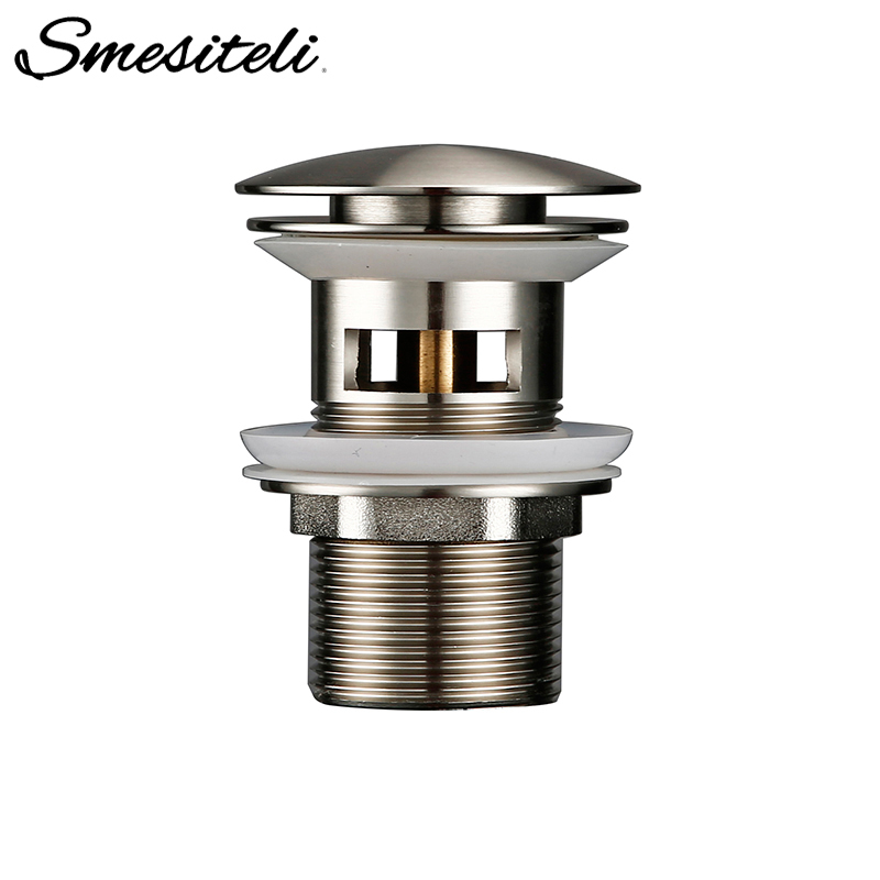 Matt Stainless Steel Bathroom Accessories Lavatory Sink Strainer Basin Push Down Pop Up Stopper Waste With Overflow Hole(China)