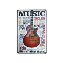 Wisząca tablica dekoracyjna do domu Bar 20x30cm Pub prostokąt Cafe salon Vintage muzyka obrazy metalowe tanie tanio HOUSEEN CN (pochodzenie) Nowoczesne Rectangle