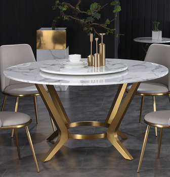 Nordic light extravagant marble table round table simple modern round table chair combination small household with turntable hou