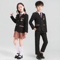 Children's School Uniforms Clothing Sets Boys And Girls British College Style Kindergarten Class Clothes Kids Blazer Pants Tie