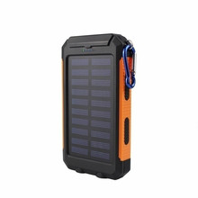 цена на 100% 10000mAh Waterproof Solar Power Bank Dual USB with SOS LED Charger Travel Powerbank for All Phone Rechargeable Power Bank