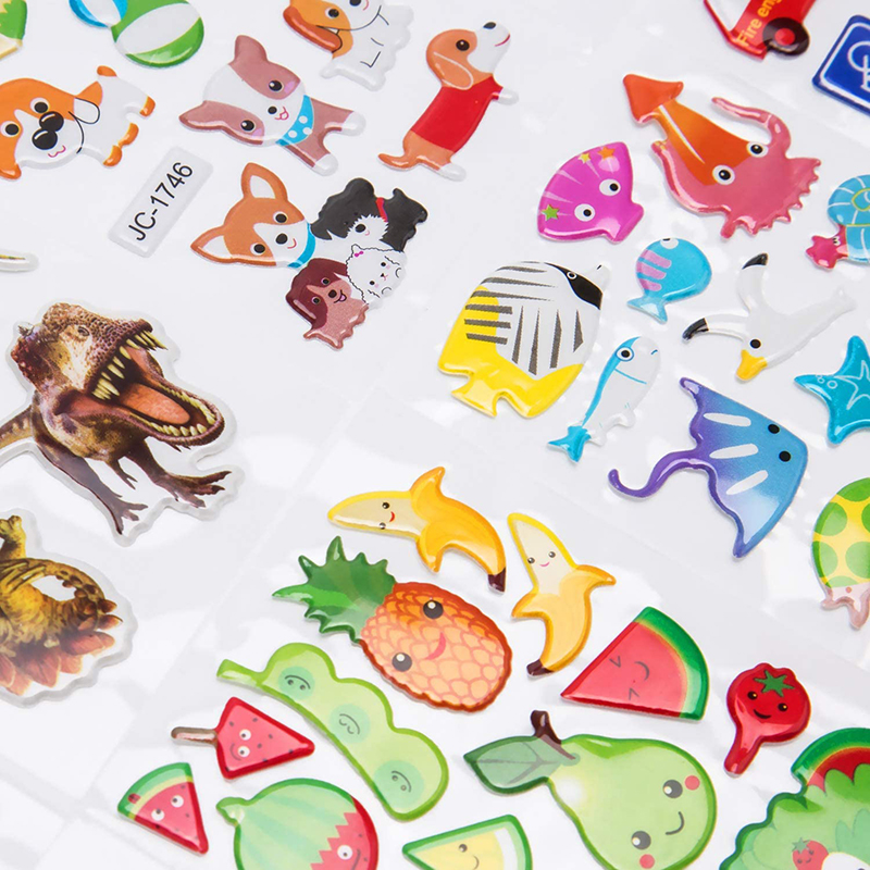 3D Stickers for Kids Toddlers 20/8 Different Sheets 3D Puffy Bulk Sticker Cartoon Education Classic Toy Children Boys Girl Gifts 4