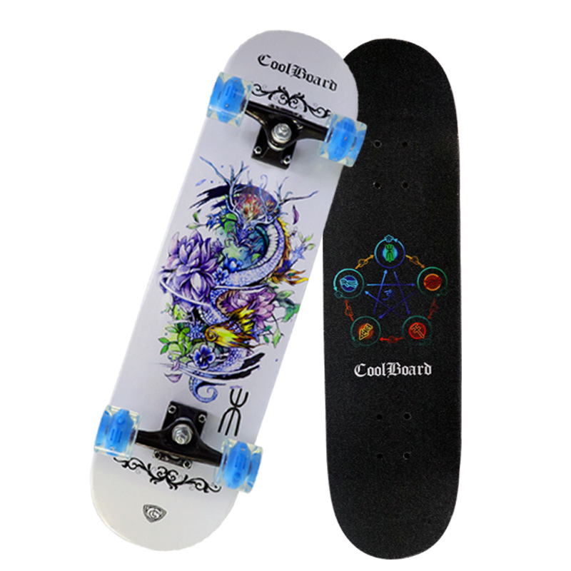 Four Wheel Double Snubby Luminous Wheel Skateboard Beginners Teenager Highway Brush Street Adult Men And Women Maple Profession