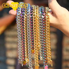 Hip Hop Miami Curb Cuban Chain Necklace 10mm Width Gold Silver Colorful Hight Quality Rapper Necklaces Men Jewelry Drop Shipping(China)