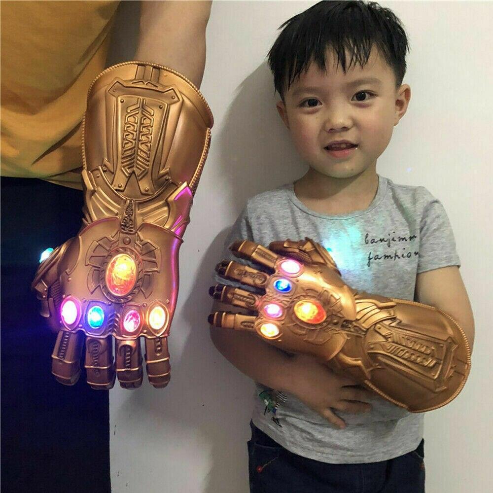 Avengers 4 thanos luva led pvc cosplay thanos infinity gauntlet luz luvas brinquedos adulto crianças natal cosplay traje adereços
