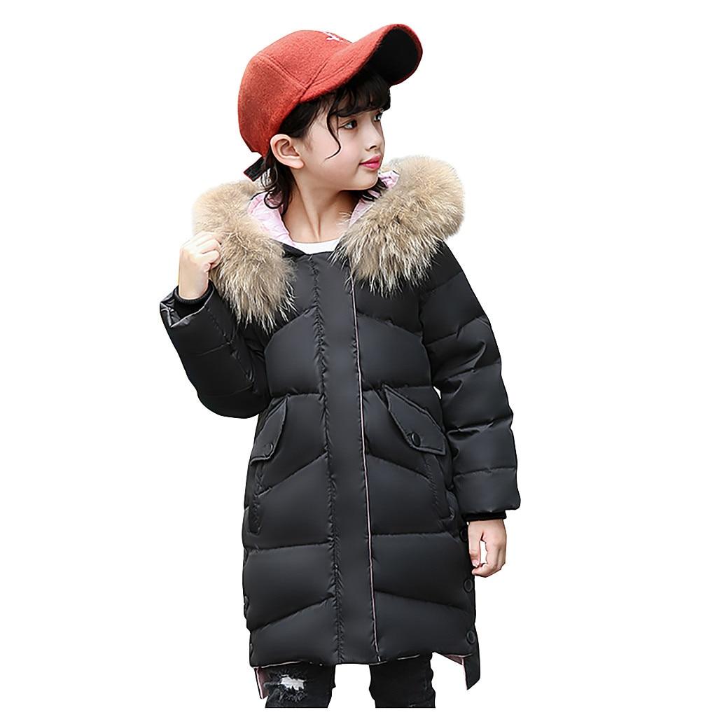 Kids Boys Hooded Puffer Warm Coat Faux Fur Padded Jackets Thick Winter Outwear