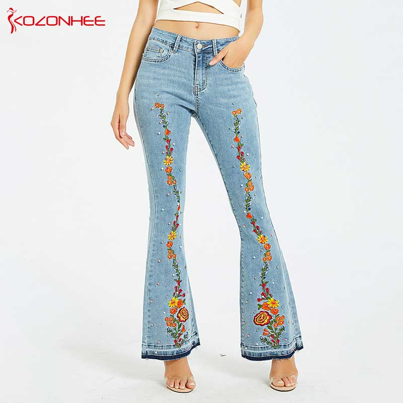 Embroidery Embroidered Flares Jeans Women Elasticity Bell-Bottoms Stretching Women Jeans For Girls Large Size #94