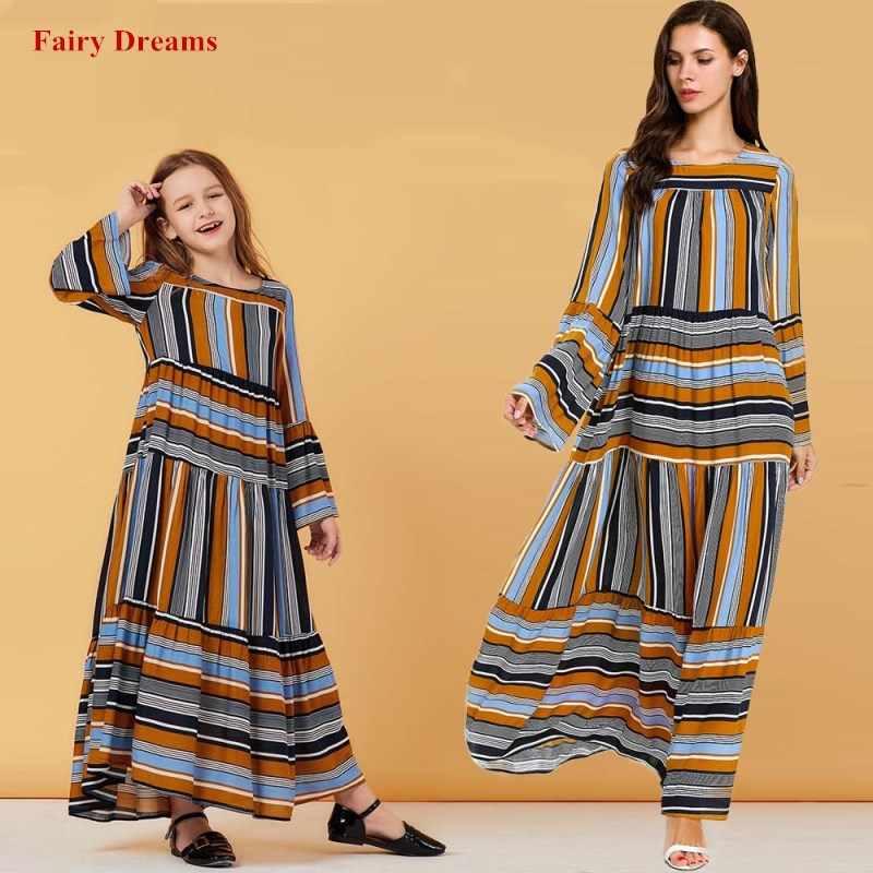 이슬람 드레스 여자 여자 노란색 abaya 두바이 터키 터키 방글라데시 kaftan 어머니 아이 가운 키즈 가족 이슬람 의류