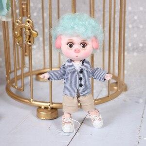 Image 5 - 1/12 bjd 26 siamese 15cm mini boneca nova porco sorte ob11 boneca com equipamentos sapatos conjunto de maquiagem presente brinquedo
