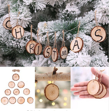 10Pcs DIY Natural Wooden Pendant Christmas Tree Decorations Wood Hanging Ornaments For Home New Year Decor