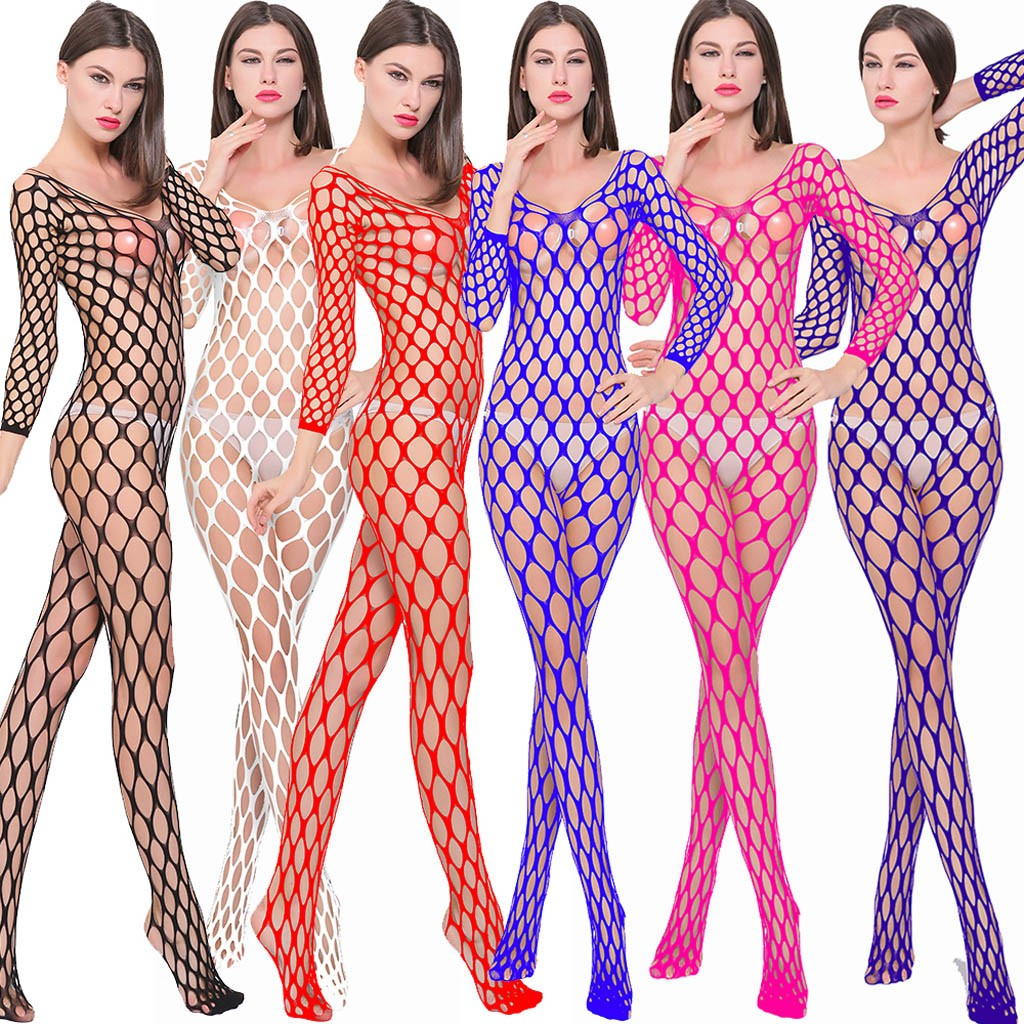 Lingerie Femme Sexy Hollow Out Underwear Erotic Transparent Mesh Bodycon Sleepwear Fishnet Porno  Underwear Fashion Sexy Costume