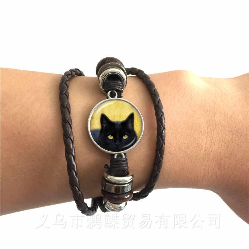 Śliczny kot z kreskówki zdjęcia szkło Cabochon skórzana pleciona bransoletka dla chłopca dziewczyna splot wielowarstwowy w stylu Punk bransoletka prezent