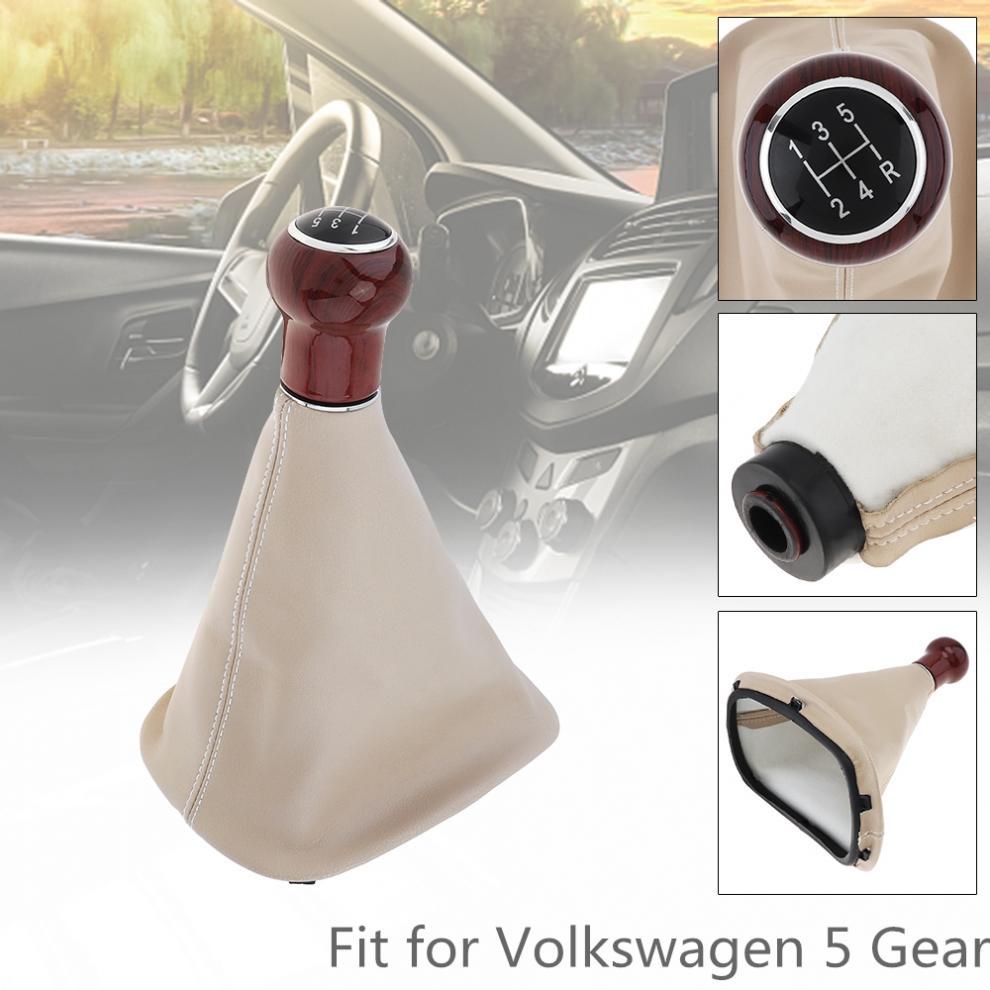 Engranaje Manual de coche de 5 velocidades de madera + PU perilla del balonmano con cubierta antipolvo apta para Volkswagen VW Passat B5/Golf/JETTA 1999-2004