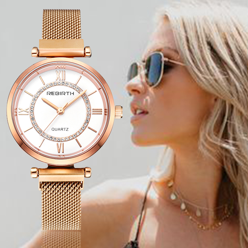 REBIRTH Women's Watch 2019 Rhinestone Women Bracelet Watch For Ladies Wrist Watch Simple Business Montre Femme Relogio Feminino