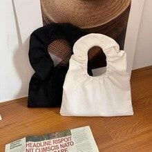 Simple Durable Ladies Mini Canvas Handbags Fashion Women Pleated Shoulder Bags Portable Female Daily Clutch Purse Small Tote