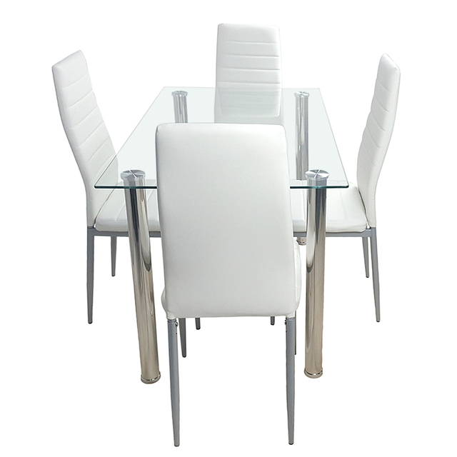 Tempered Glass Dining Table with 4 Chairs  4