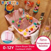 الطفل مشرقة للطي حمام حوض 0 12Y PP الأطفال دلو حمام 9 سنتيمتر سميكة كبيرة المنزلية ساونا حوض الاستحمام مع مقعد المحمولة هدية مجانية
