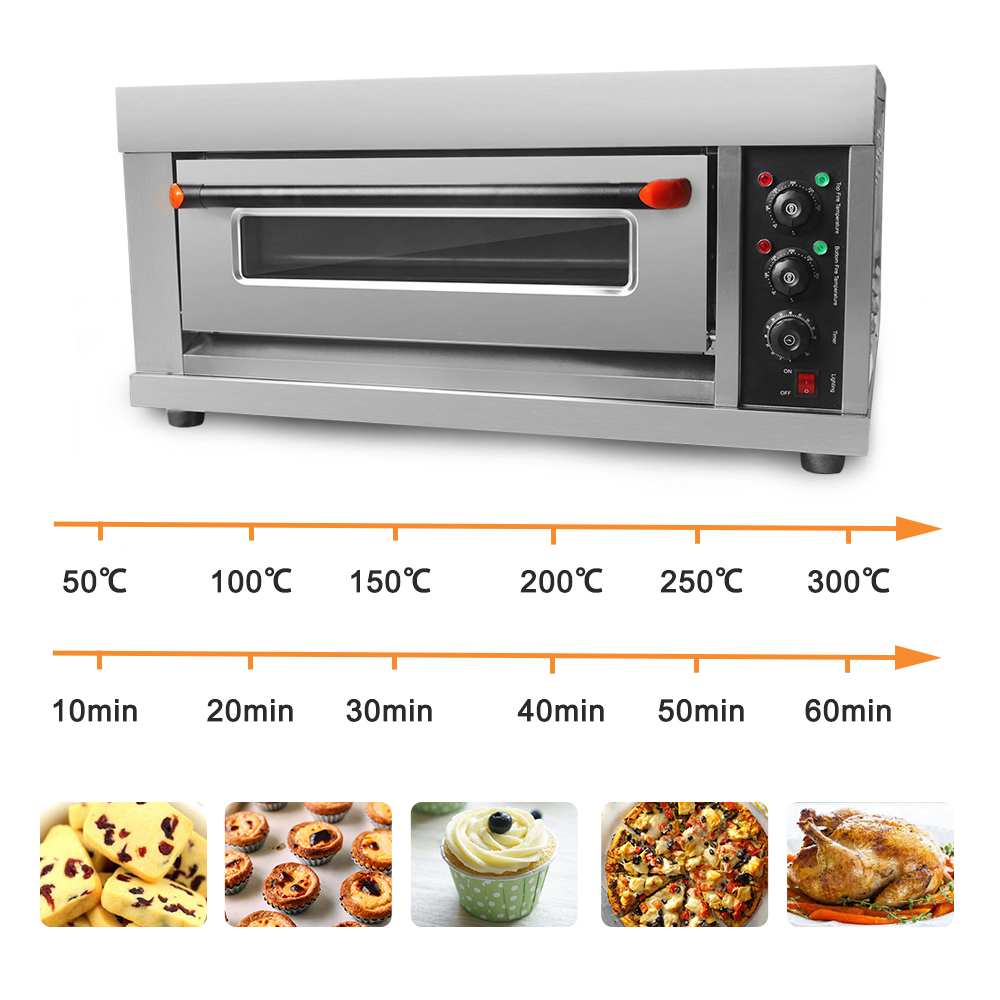 ITOP 3200W Electric Pizza Oven Cake Roasted Chicken Stainless Steel Baking Machine Single Roasted Oven With Pizza Pan And Stone in Ovens from Home Appliances