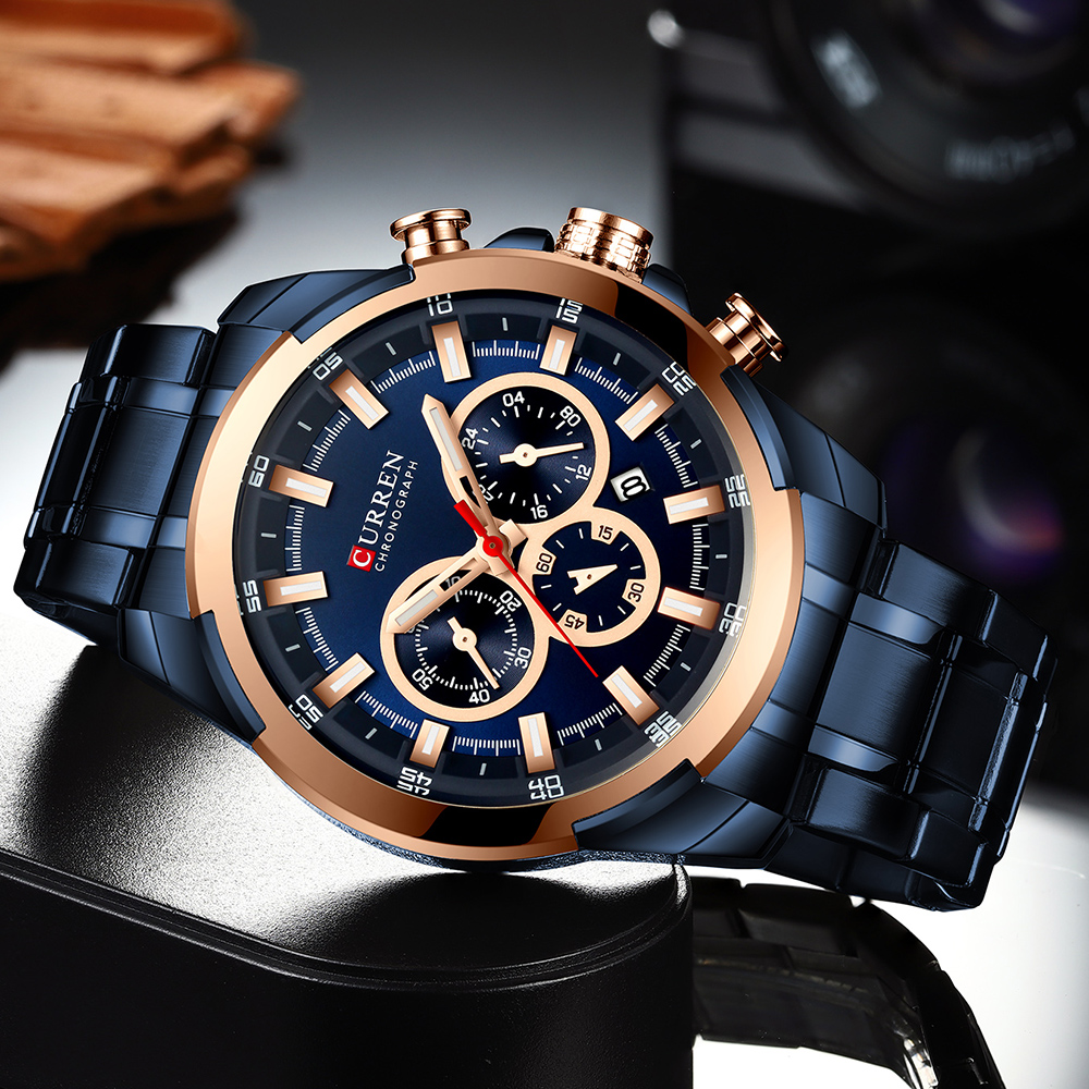 Image 5 - Luxury Sport Quartz Watch Men CURREN Stainless Steel Strap Military Watch Waterproof Gifts For Men Business Relogio MasculinoQuartz Watches   -