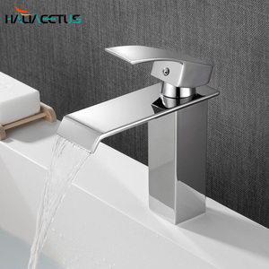 Basin Bathroom Faucet Brass Sink Bathroom Mixer Tap Waterfall Bthroom Faucet Hot Cold Tap Mixer Chrome for Faucet Sink(China)