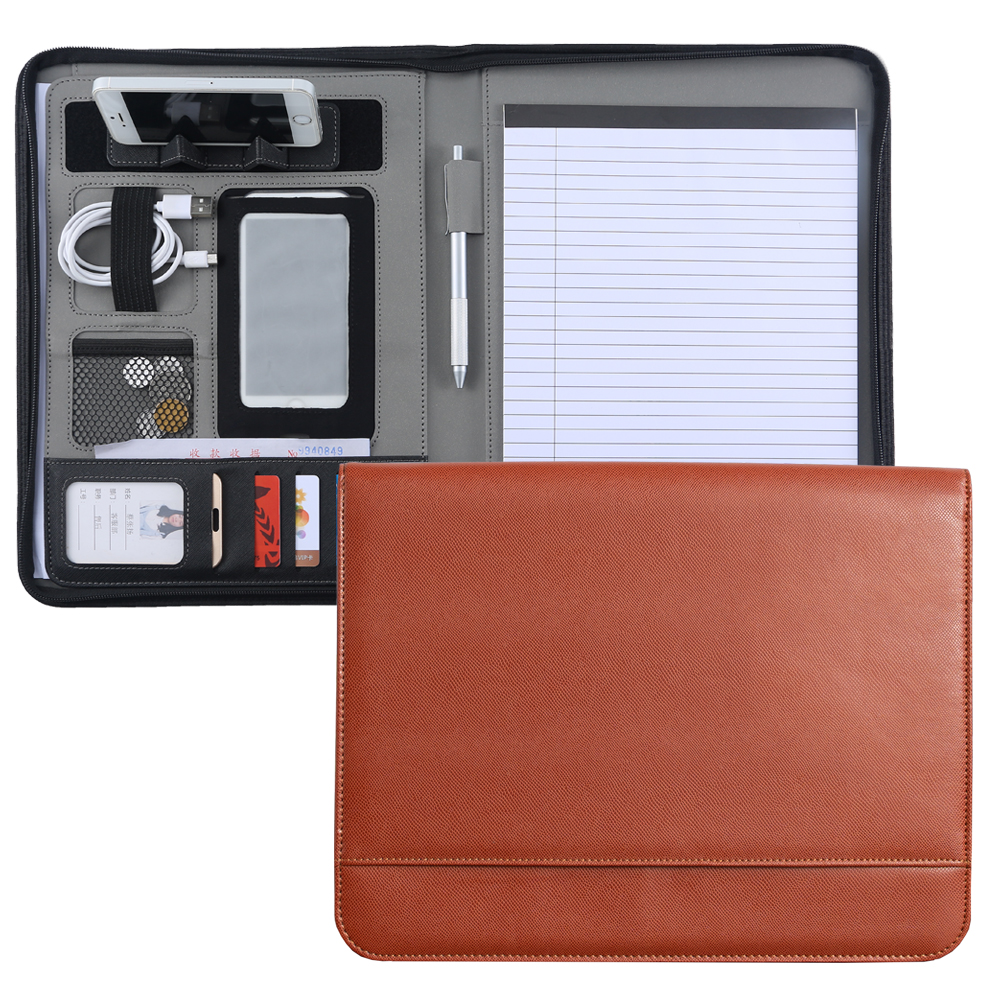 Custom A4 Zipper Document File Folder Padfolio PU Leather Conference Briefcase Manager Folder Portfolio With Telephone Holder