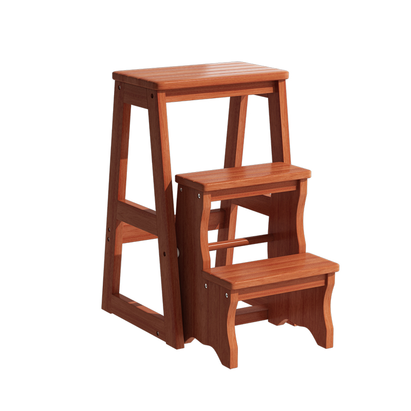 Solid Wooden Ladder Stool, Two Or Three Steps Folding Living Room, Indoor Multi-functional Climbing Ladder Stool, Staircase Chai