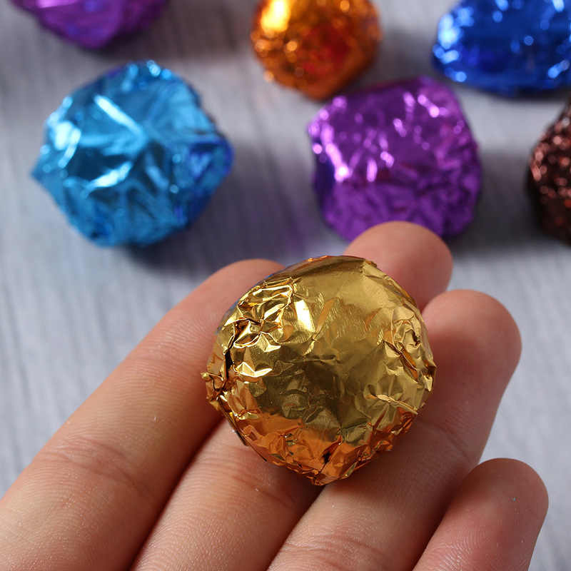 100Pcs/Set 10 Colors Aluminum Foil Chocolate Wrapping Tin Paper,Candy Aluminum Foil Embossing Paper 8*8CM