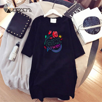 Women Dresses NEVER Series Letter Plus Size Black Mini Dress Loose Summer Long T Shirt Casual Clothes Femme Tops White Sukienka 169