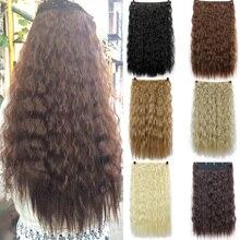 """2"""" длинные волнистые волосы для наращивания, 5 клипов, накладные волосы для наращивания, термостойкие синтетические накладные волосы, прическа SHANGKE"""
