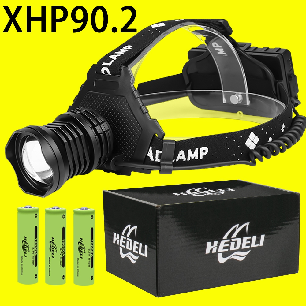 300000 Lm Xhp90.2 Led Head Lamp Xhp90 Headlamp High Power Headlight Torch Usb 3*18650 Rechargeable Xhp70 Xhp50.2 Zoom Head Light
