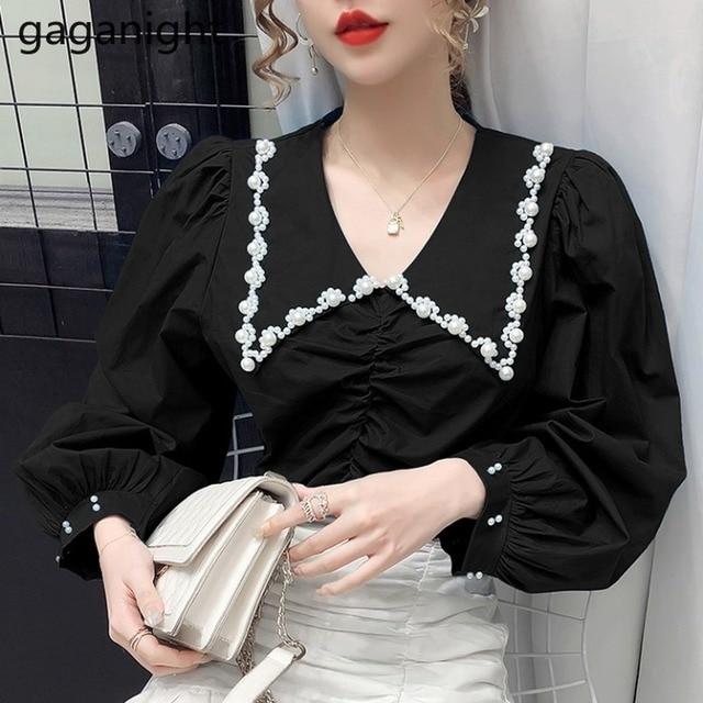 Gaganight Fashion Women Beading Blouse Solid Long Sleeve Shirt Office Lady Spring Autumn Blusas Chic Korean Blouses Slim Shirts 4