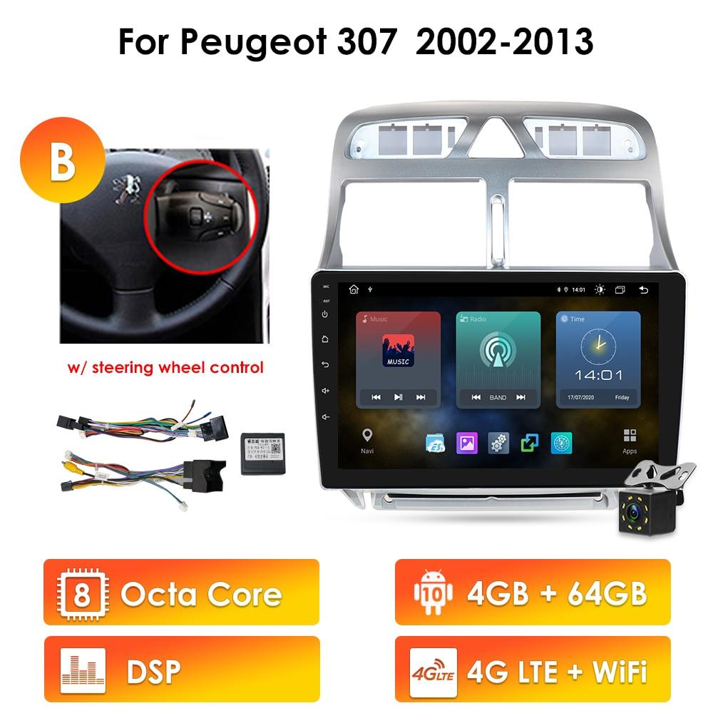 autoradio 2din Android 10 car multimedia player for Peugeot 307 307CC 307SW 2002-2013 car radio GPS navigation WiFi Bluetooth 4G