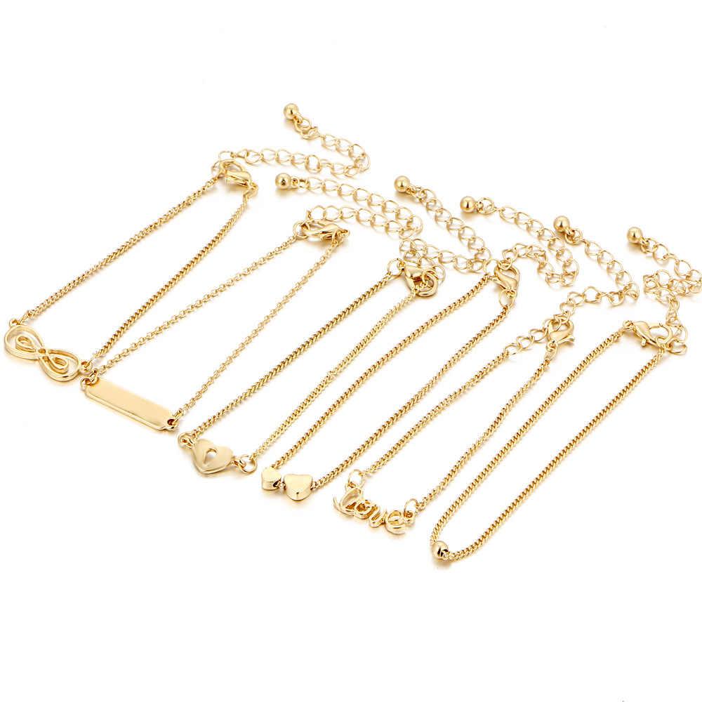 6 adet plaj ayak bileği Set Boho takı Bohemian altın zincirler Infinity çift kalp aşk kilidi Charm bilezikler kadınlar halhal ayak