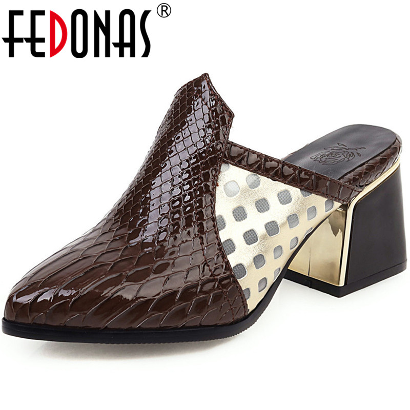 FEDONAS 2020 Color Matching Women Shoes Sexy Quality Thick Heels Pumps Spring Summer Show Off Mules Working Prom Shoes Woman