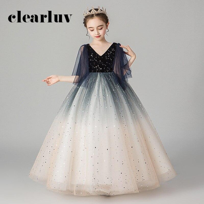 Flower Girl Dresses For Weddings B038 Half Sleeve Sequins Princess Dresses Elegant 2020 New V-Neck Zipper Tulle Girls Ball Gown