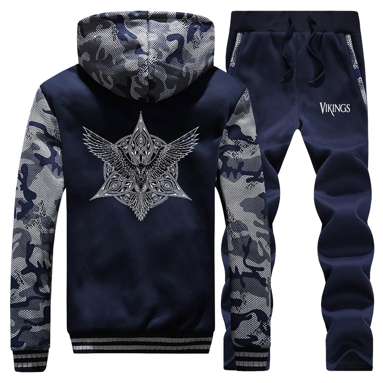 The Viking Camo Male Set Ragnar Odin Print Men's Thick Sets Vikings Fleece Sportsman Wear Sweatsuit Norsemen Pants Sweatshirt